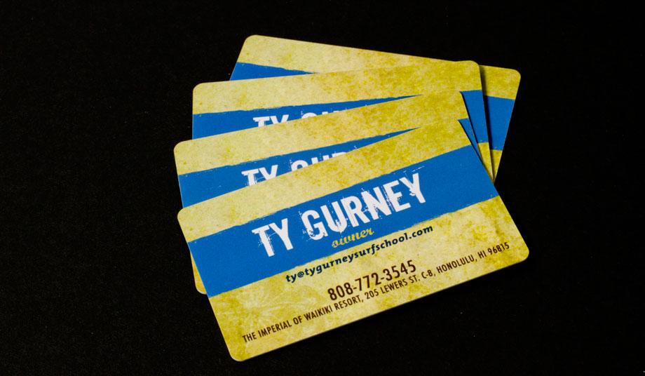 Ty Gurney Surf School & Board Shop Business Card Fan - Waxcreative ...