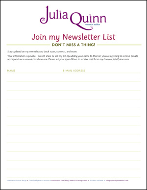 Julia Quinn sign up example